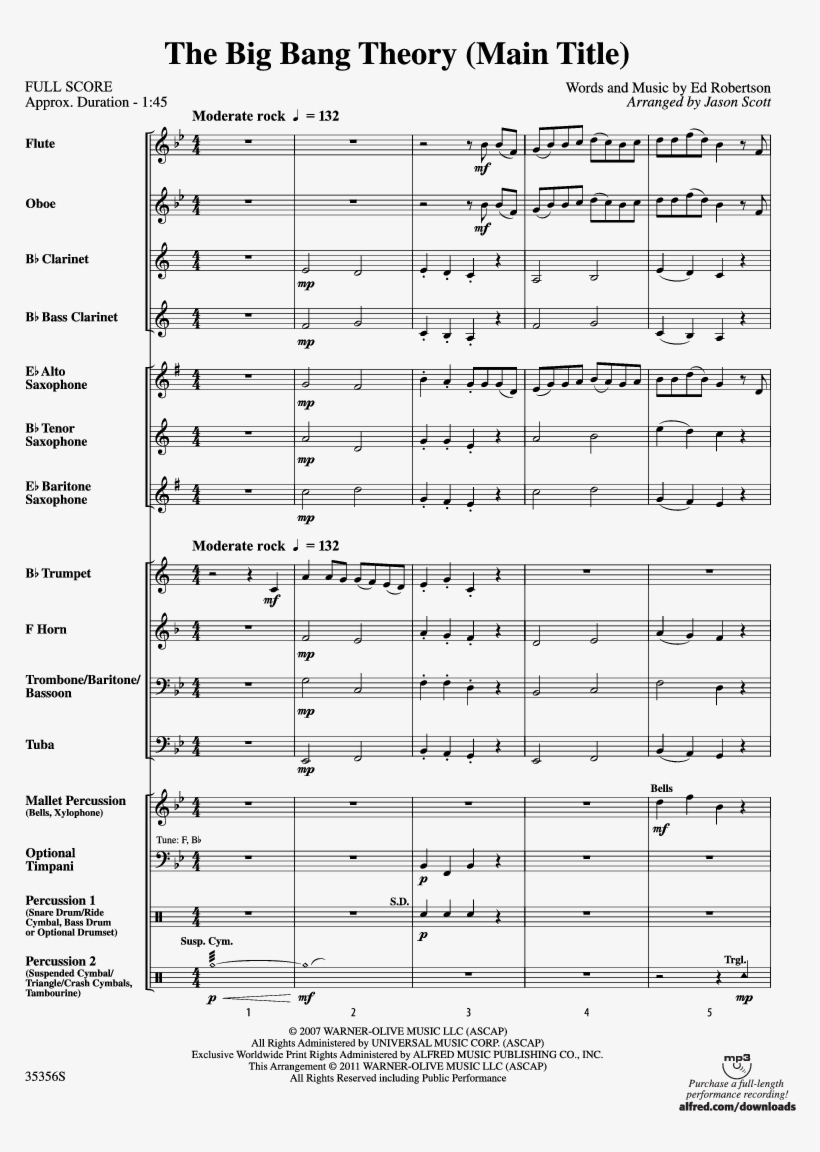The Big Bang Theory Thumbnail - March Bits And Pieces Sheet Music For Clarinet, transparent png #3274020