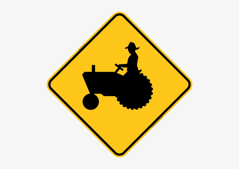 Tractor Crossing Icon Warning Trail Sign - Road Sign With Car, transparent png #3278079