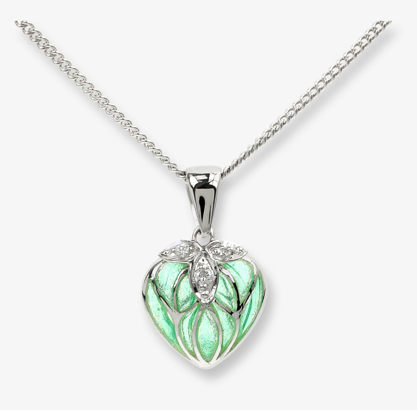 Nicole Barr Designs Sterling Silver Heart Necklace-green - Green Heart Necklace - Sterling Silver 18 Inch, transparent png #3279879