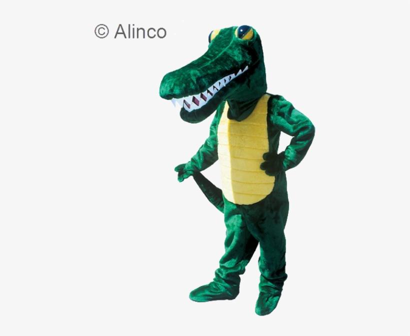 Gator Mascot Costume - Men's Adult Gator Mascot - Green/yellow - One Size, transparent png #3285123