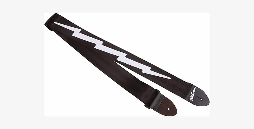 "Gibson Asgsbl The Lightning Bolt Sealtbelt - Gibson Lightning Bolt 2"" Nylon Strap Black, transparent png #3286313"