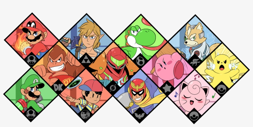 Smash 64drawing All The Smash Fighters In The Series - Original Super Smash Bros Ultimate Characters, transparent png #3292731