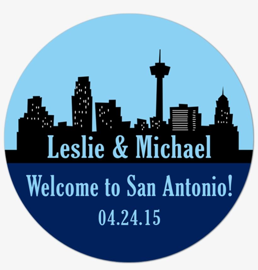 San Antonio Texas Skyline Personalized Sticker - Price, transparent png #3294924