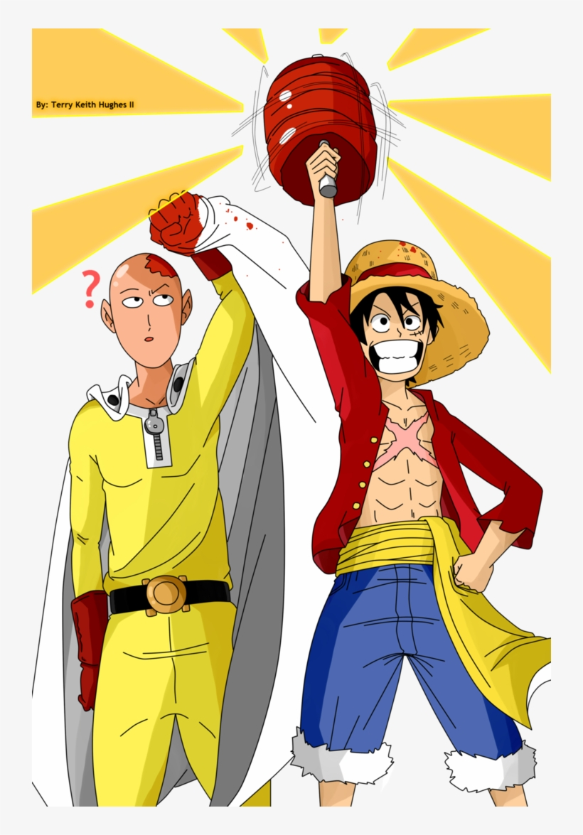 Graphic Royalty Free Stock One Punch Man X Piece And - One Punch Man Luffy, transparent png #331009