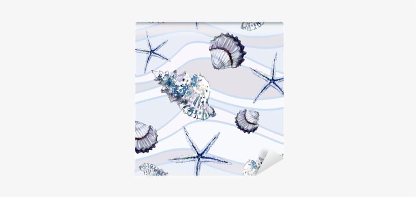 Seamless Marine Pattern With Shells And Starfish On - Sfondo Marino Bianco, transparent png #332740