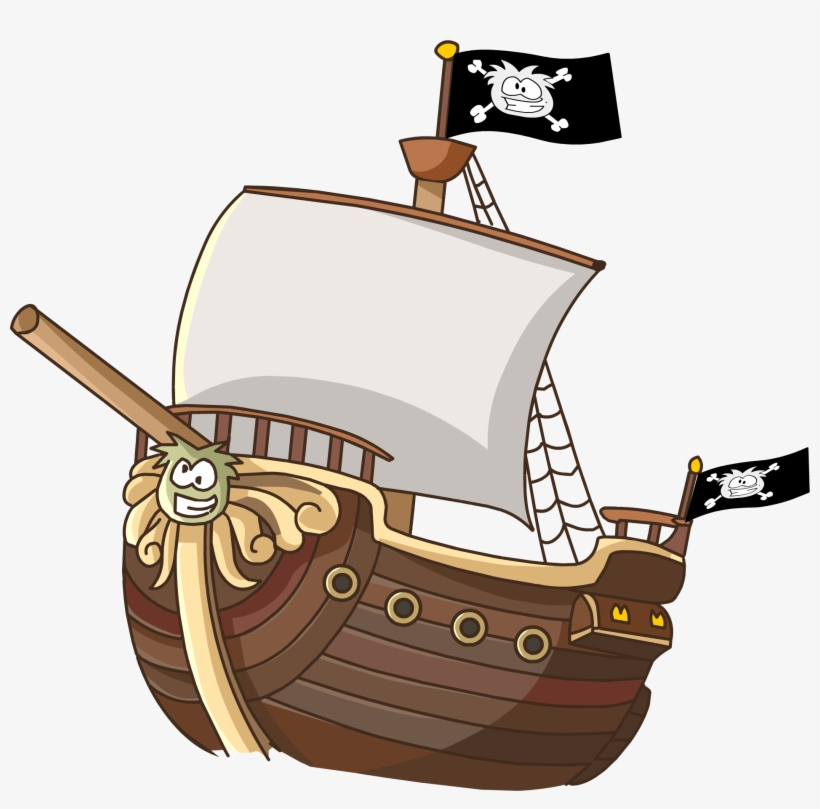 Beautiful X Collection Of Pirate Ship Clipart Free - Pirate Ship Cartoon Png, transparent png #333484