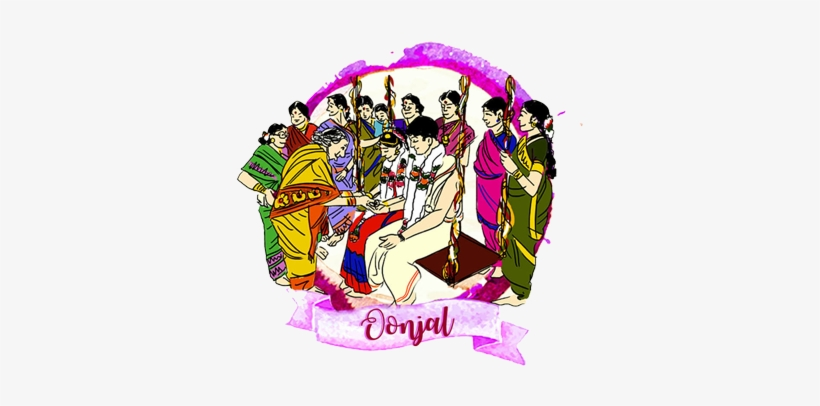 On The Day Of The Wedding The Events Will Be In The South Indian Wedding Cartoons Free Transparent Png Download Pngkey