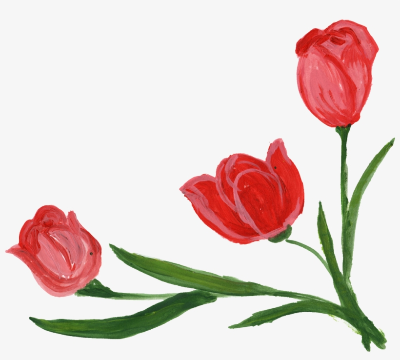 Png File Size - Red Flowers In Corner, transparent png #335720