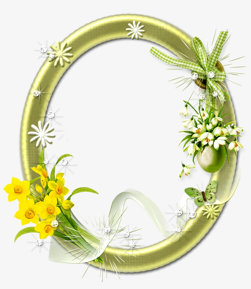 Flower Frame Png Photo - Oval Photo Frames Png, transparent png #337126