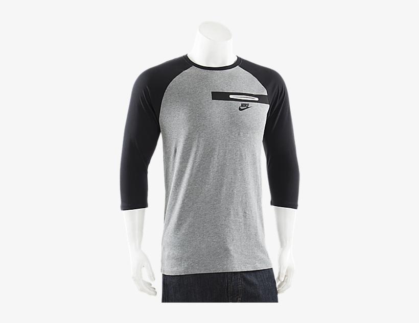 Nike Bemis 3/4 Pocket T Shirt Grey - Long-sleeved T-shirt, transparent png #3309393