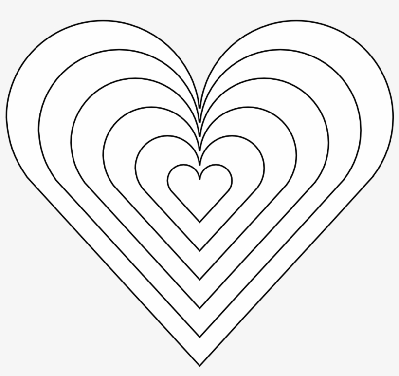 Color Heart Black White Line Art 999px 121 - Rainbow Heart ...
