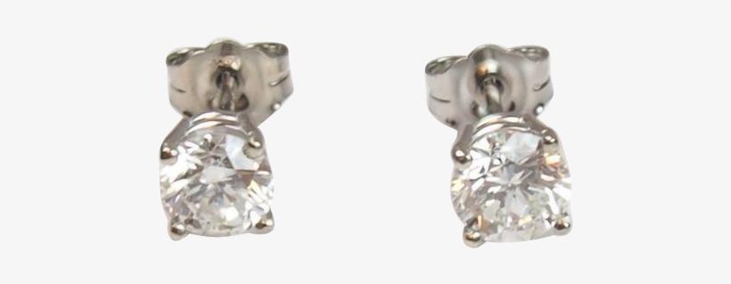 Vintage 14k White Gold 1.06 Ctw Diamond Stud Earrings, transparent png #3310192