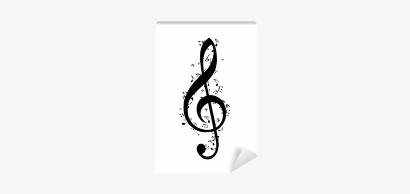 G-clef Made Of Little Music Notes Vector Wall Mural - Music Note Icon Png, transparent png #3314512
