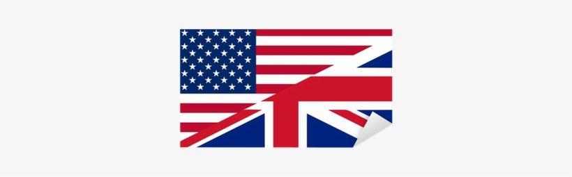 American And British English Language Icon Sticker - British Flag American Flag, transparent png #3336892