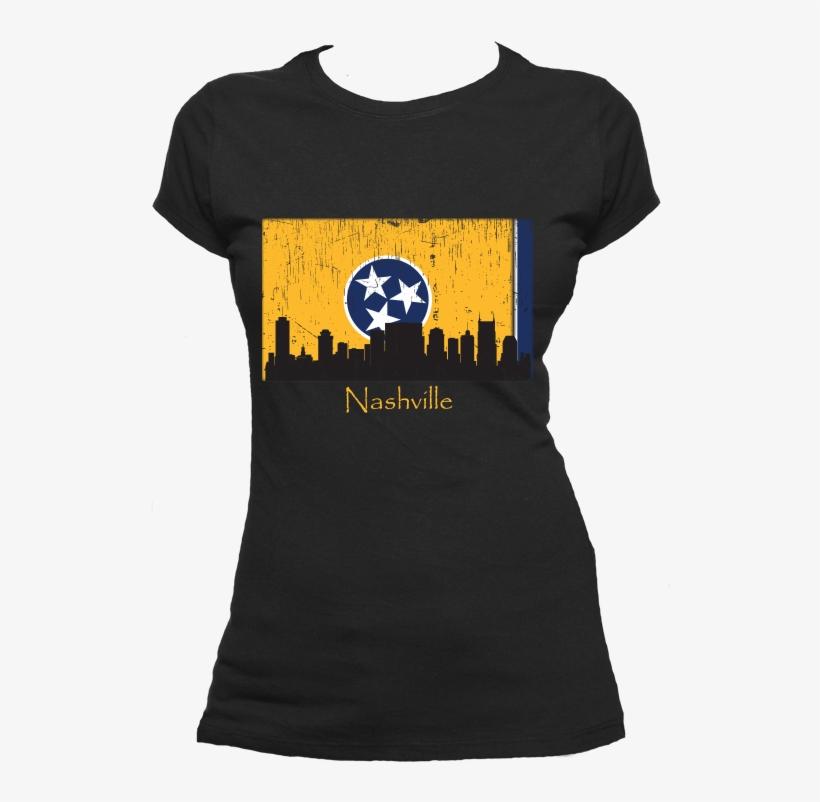 Nashville Skyline Yellow Women's Short Sleeve T-shirt - Oh Captain My Captain Shirt, transparent png #3391285