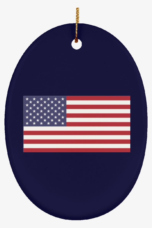 Usa Flag Ceramic Oval Ornament - Usa Flag, transparent png #3393142