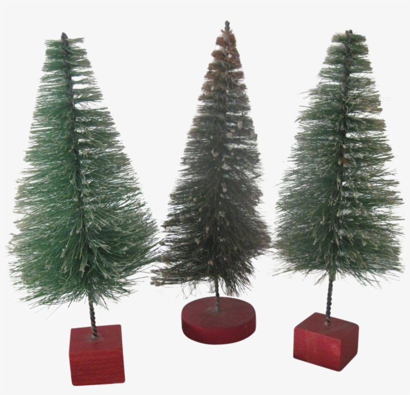 Set Of Three Vintage Miniature Bottle Brush Christmas - Christmas Tree, transparent png #3398695