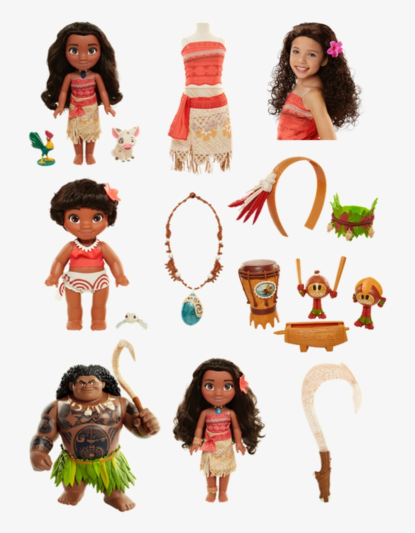 Bring Moana To Life For Your Child With - Poupée Chantante Vaiana 38 Cm + 2 Figurines, transparent png #3398973