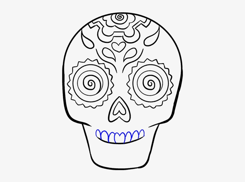 How To Draw A Sugar Skull Step By Step Tutorial Easy - Dia De Los Muertos Drawings Easy, transparent png #341205
