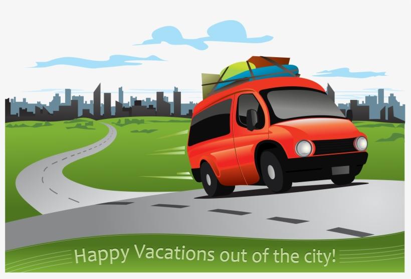 Car Road Driving Clip Art - Car Driving On A Road Cartoon, transparent png #341823