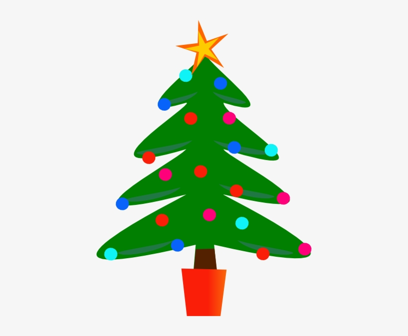 Christmas Tree Clipart Black And White Free - Christmas Tree Clipart, transparent png #346811