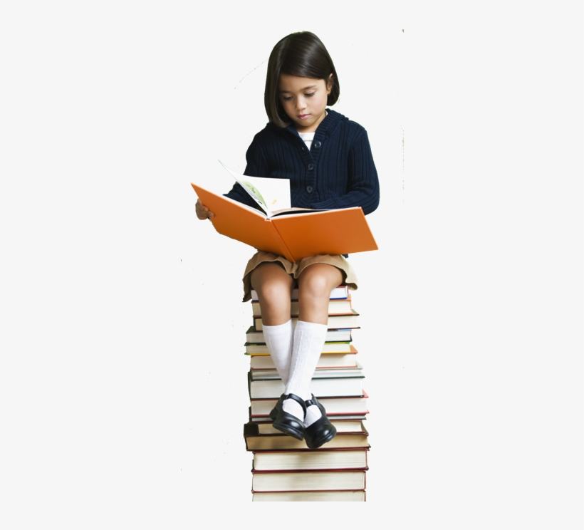 Eye Level Girl Sit Books Foundation Small Png - Kids With Stacks Of Books, transparent png #347101
