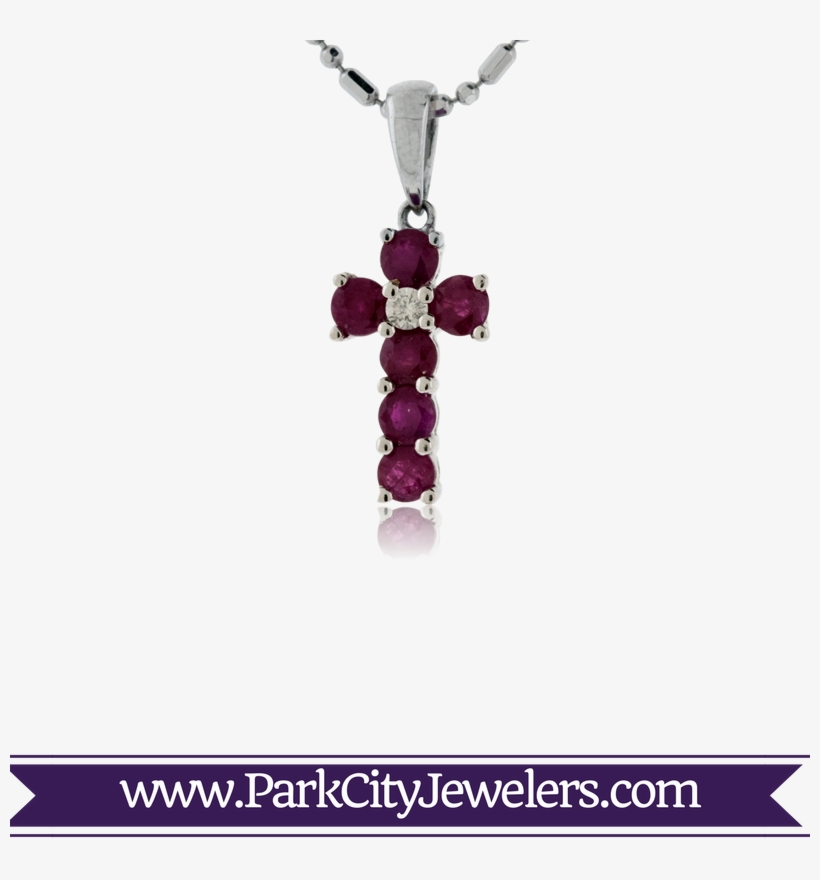 Ruby And Diamond Cross Pendant - Pave Diamond Snowflake Earrings, transparent png #3401276