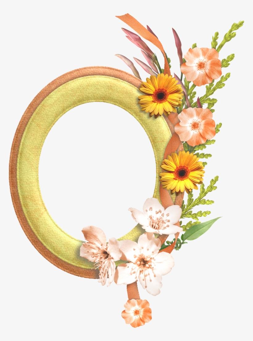 Gold Flower Frame Transparent Background - Flower Oval Frame Png, transparent png #3404232