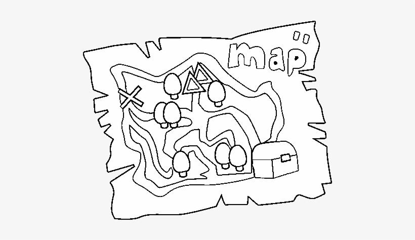 Treasure Map Coloring Page - Mapa De Tesoro Para Imprimir - Free  Transparent PNG Download - PNGkey