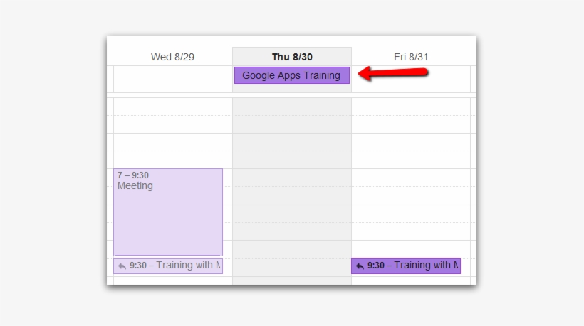 If You Look Closely, The All Day Events And Timed Events - Google Calendar All Day Event, transparent png #3418717