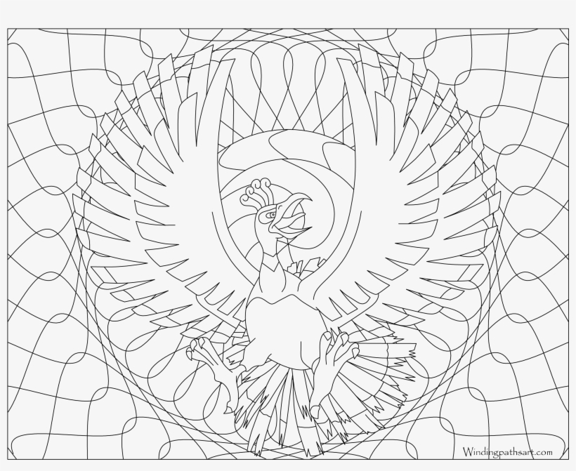 250 Ho Oh Pokemon Coloring Page Coloring Book Free Transparent Png Download Pngkey