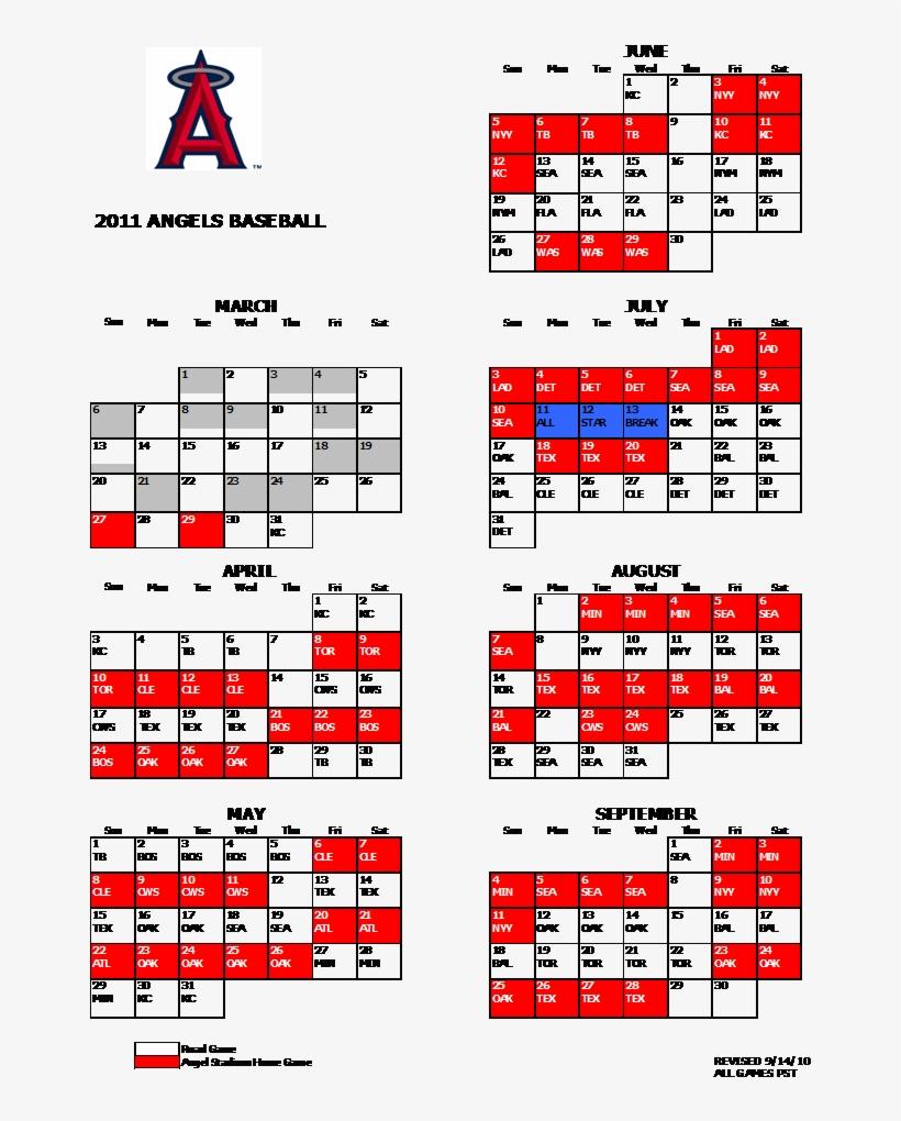 Angels 2011 Schedule Medium - Anaheim Angels Schedule 2017, transparent png #3444528