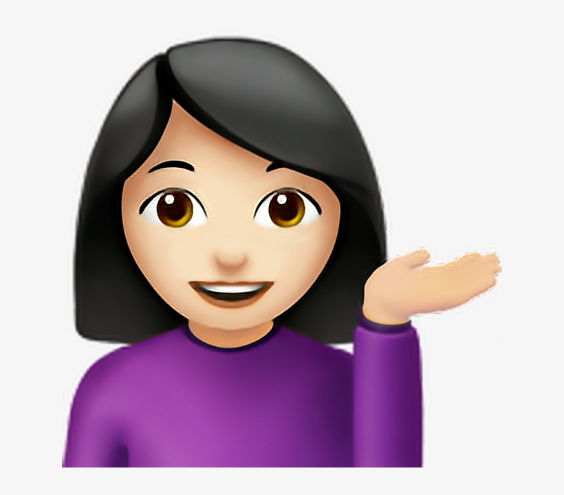 Girl Emoji Iphone Iphoneemoji Emoticon Png Black Iphone - Woman Tipping Hand Emoji, transparent png #3454330