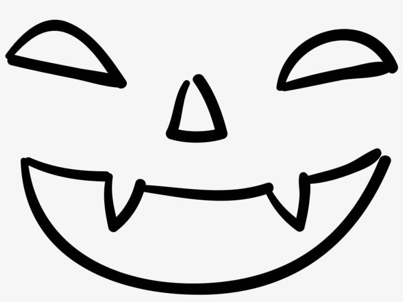 Bad Halloween Face Of Mouth Nose And Eyes Outlines - Ojos Y Bocas De Halloween, transparent png #3454430