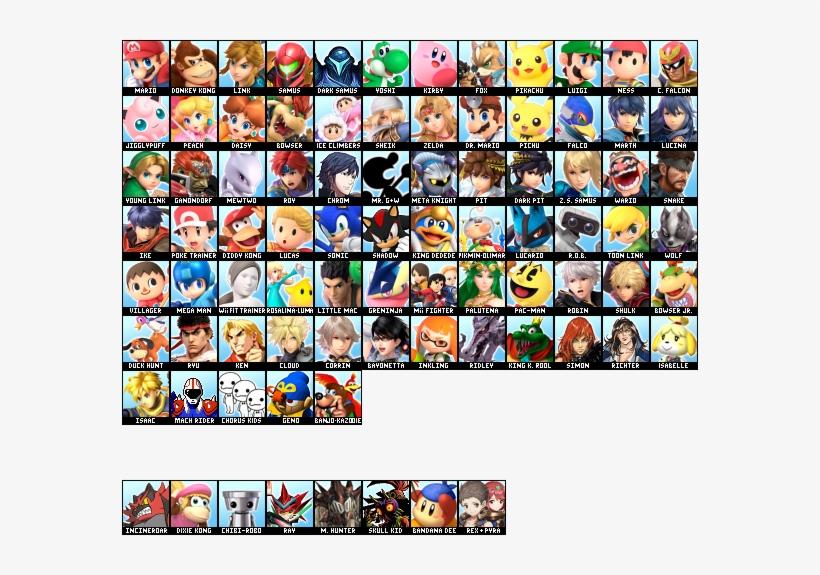 Ultimate Full Roster And Dlc - Super Smash Bros Ultimate Full Roster, transparent png #3459087
