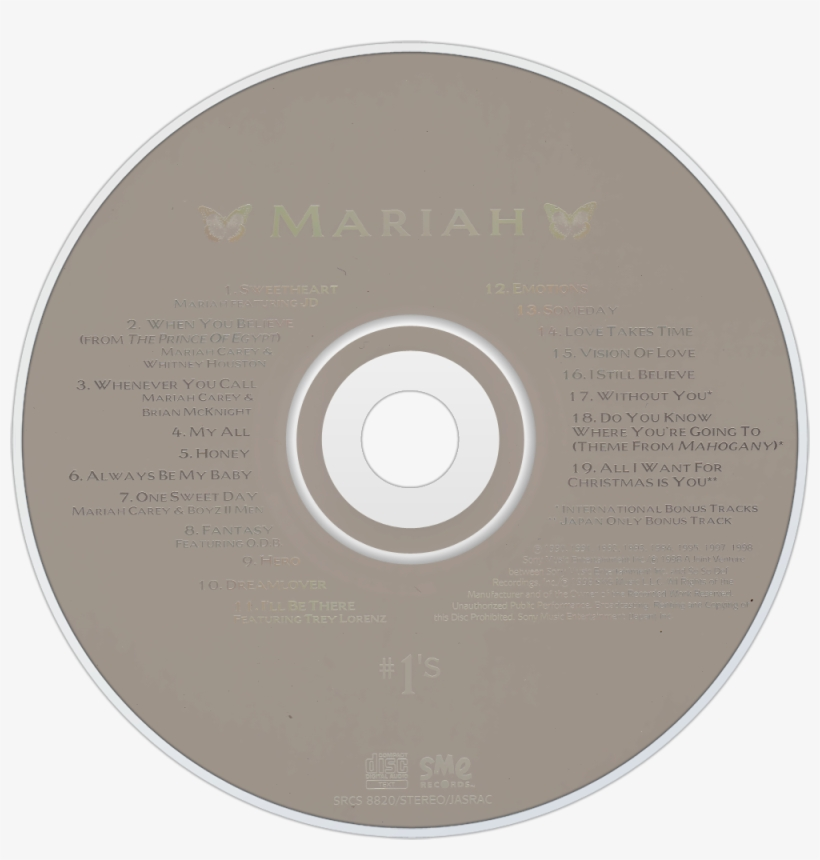 Mariah Carey - Mariah Carey #1's Cd, transparent png #3464413