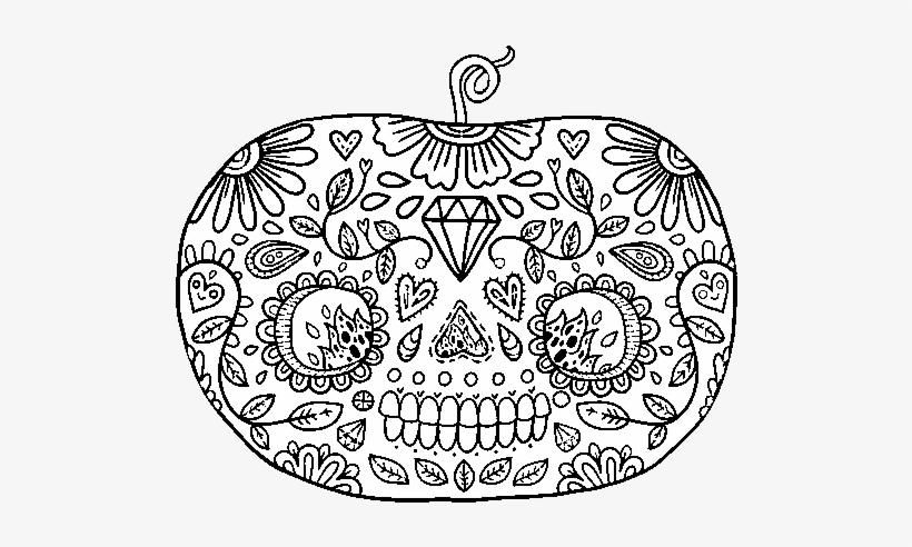 Dibujo De Calabaza Del Día De Los Muertos Para Colorear - Dia De Muertos Para Dibujar, transparent png #3470870