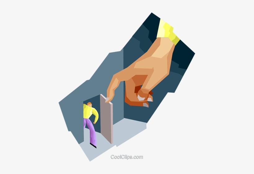 Big Hand Opening Door For Little Man Royalty Free Vector - Man Opening Door Illustration, transparent png #3471820