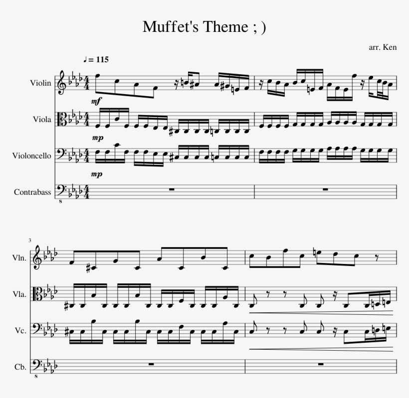 Muffet's Theme - Muffet's Theme Violin Sheet Music, transparent png #3488871