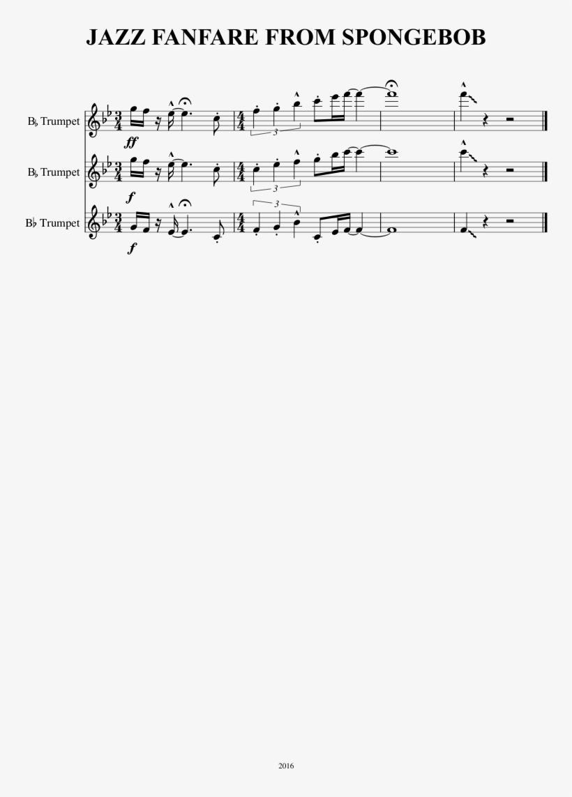 Jazz Fanfare From Spongebob Sheet Music 1 Of 1 Pages - Sheet Music, transparent png #350090