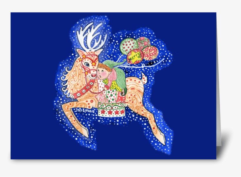 Elf Riding Christmas Reindeer Greeting Card - Reindeer And Santa's Helper Card, transparent png #350790