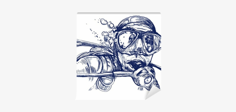 Alarmed By The Diver, Hand Drawing Converted To Vector - Scuba Diver Mask Black Vinyl Sticker Wall Art, transparent png #352415