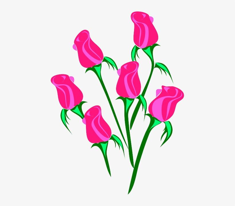 Blue Flower Flowers Cartoon Purple Pink Rose Roses Clip Art