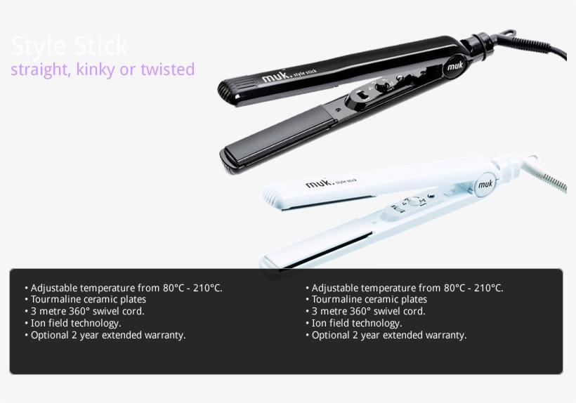White Muk Hair Iron 80°c - Muk Style Stick Black Hair Straightener Black, transparent png #3514702