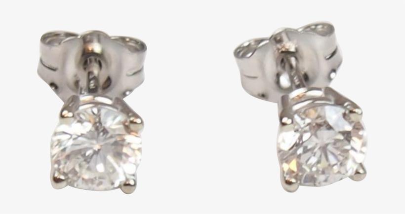 Vintage 14k White Gold .83 Ctw Diamond Stud Earrings, transparent png #3515727
