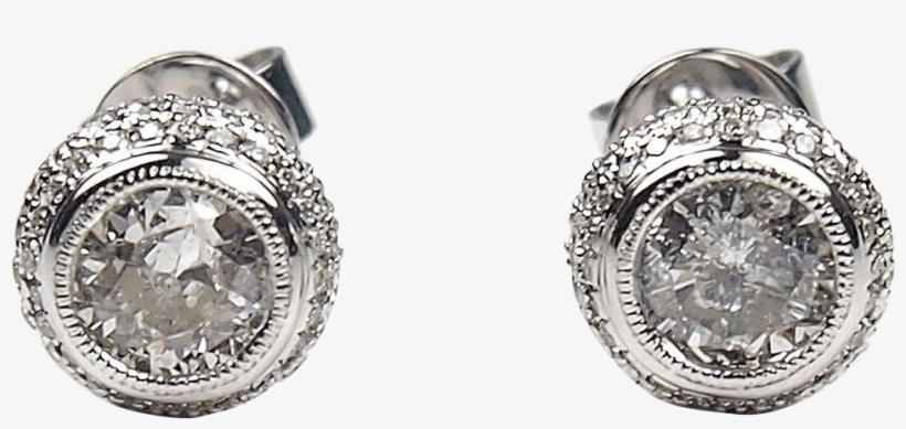 Diamond Earrings Png Download - 1.20 Ctw Diamond Stud Earrings 14k White Gold, transparent png #3515943