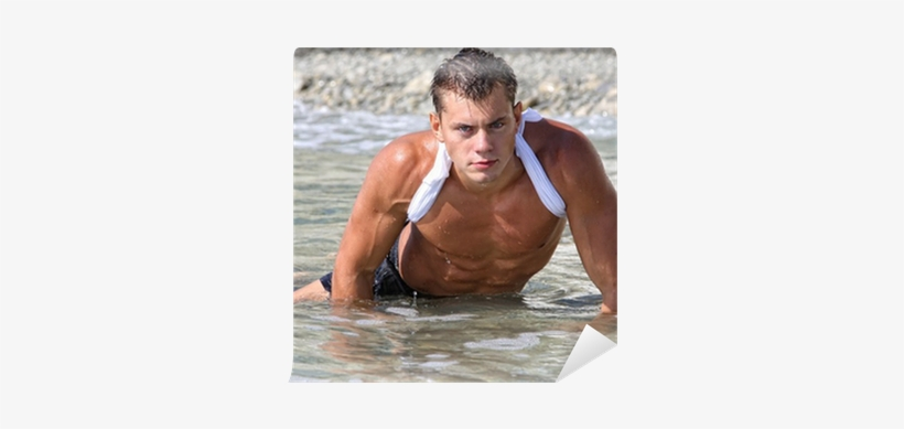 Muscle Wet Sexy Man In Sea Water Wall Mural • Pixers® - Open Water Swimming, transparent png #3531109