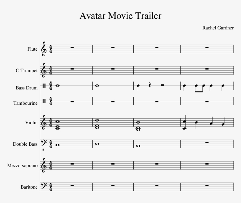 Avatar Movie Trailer Sheet Music Composed By Rachel - Kirby Return To Dreamland Piano Music, transparent png #3534010