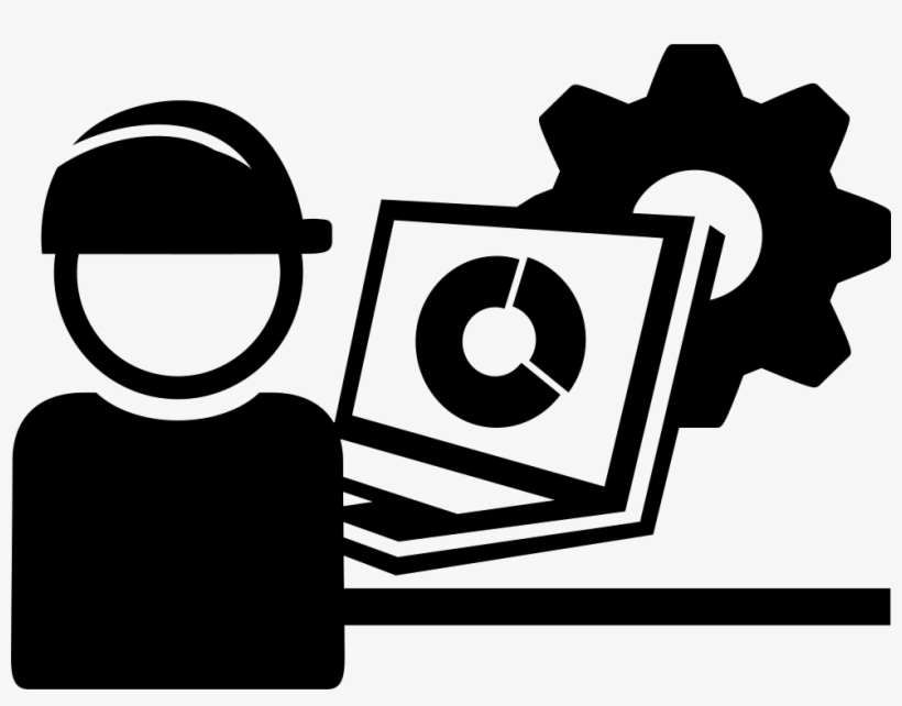 Industry Worker With Cap Protection And A Laptop Comments - Industry Icon Png Black And White, transparent png #3538676