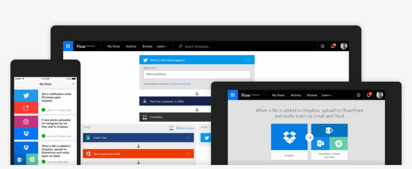 Microsoft Flow, The Company's Workflow Management Tool, - Microsoft Flow, transparent png #3539225